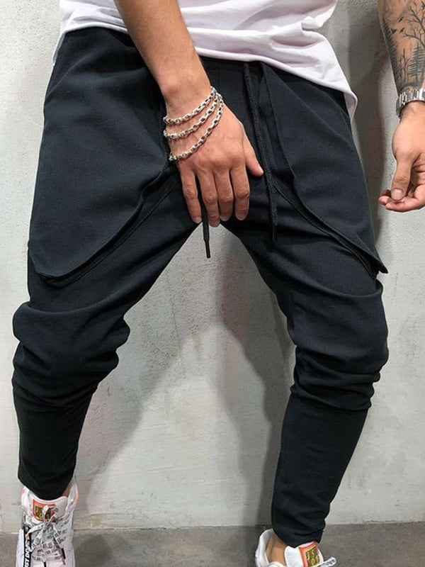 Harem Pocket Plain Casual Lace-Up Casual Pants