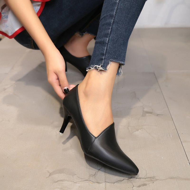 Slip-On Stiletto Heel Pointed Toe Western Plain Thin Shoes