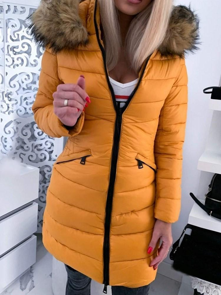 A Line Zipper Mid-Length Cotton Padded Jacket