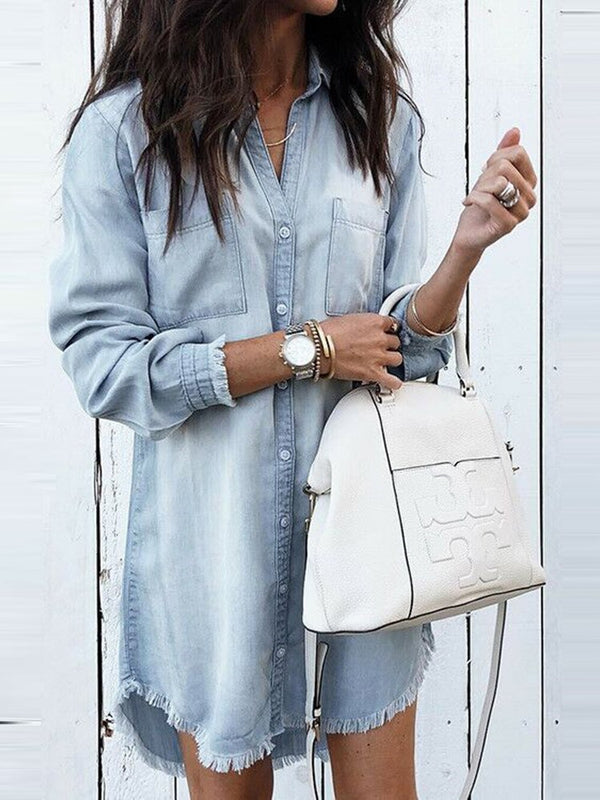 Button Lapel Plain Mid-Length Long Sleeve Blouse