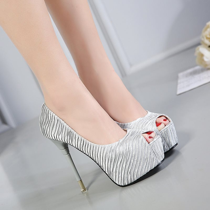 Platform Stiletto Heel Slip-On Peep Toe Plain Casual Thin Shoes