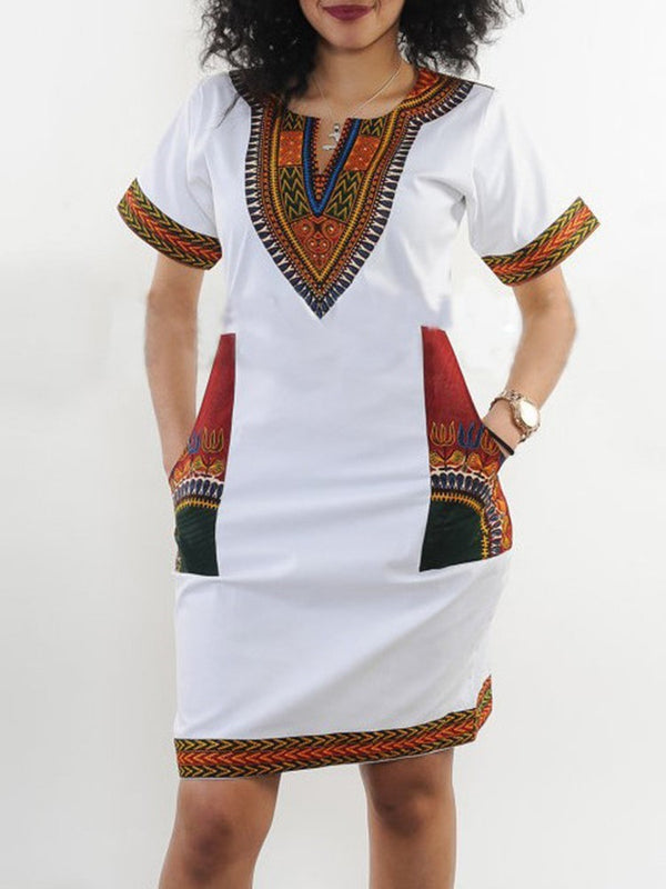 Short Sleeve Above Knee Patchwork Straight Pullover Dress