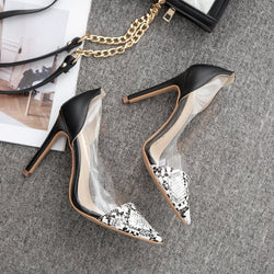 Pointed Toe Stiletto Heel Slip-On Serpentine Color Block Ultra-High Heel Thin Shoes