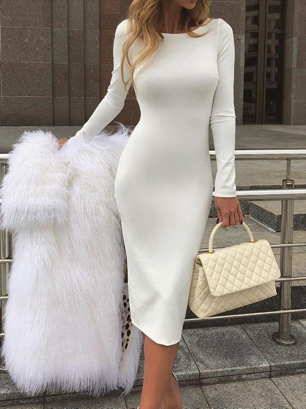 Long Sleeve Mid-Calf Round Neck Plain Pullover Dress