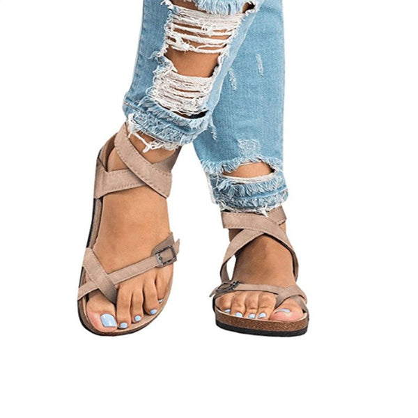 Buckle Toe Ring Plain Low-Cut Upper Sandals