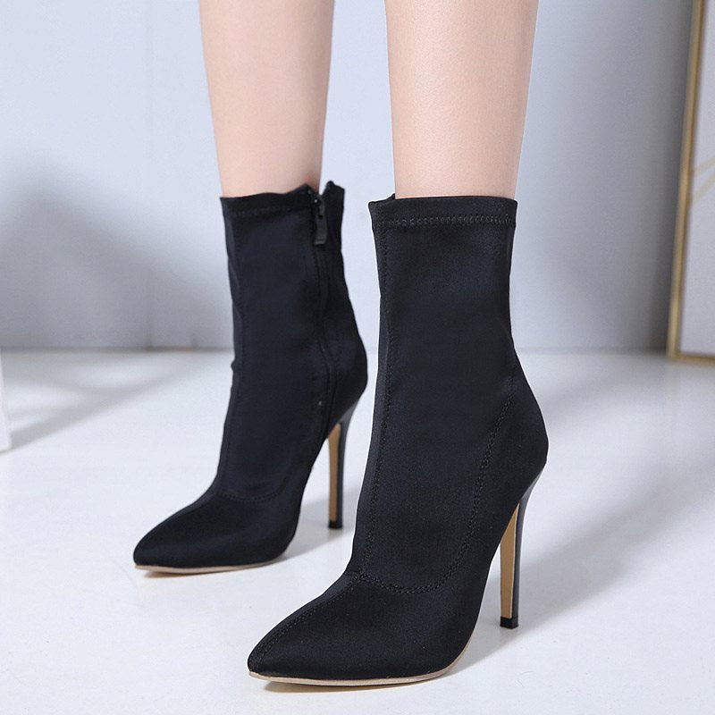 Plain Stiletto Heel Side Zipper Pointed Toe PU Casual Boots