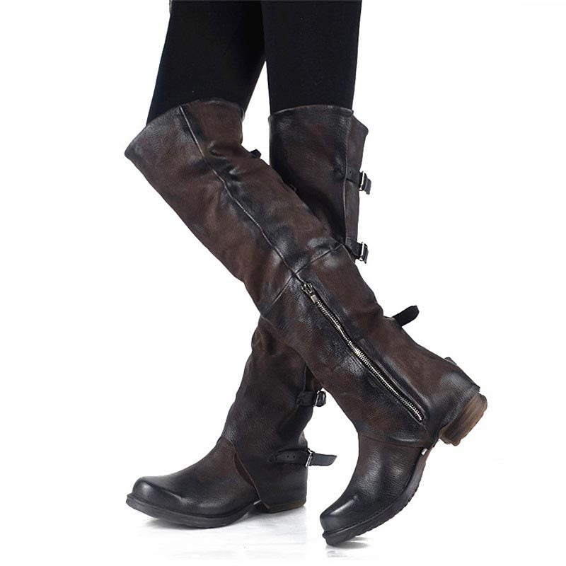 Women's Side Zipper Buckle Knee High Boots