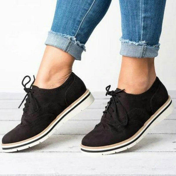 Round Toe Low-Cut Upper Hollow Lace-Up Suede Plain Sneakers