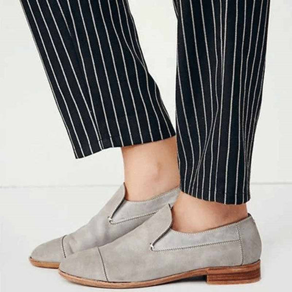 Round Toe Block Heel Thread Slip-On Low-Cut Upper Casual Thin Shoes