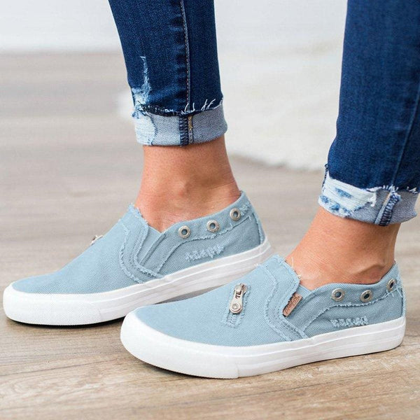 Slip-On Round Toe Candy Color Low-Cut Upper Denim Casual Sneakers