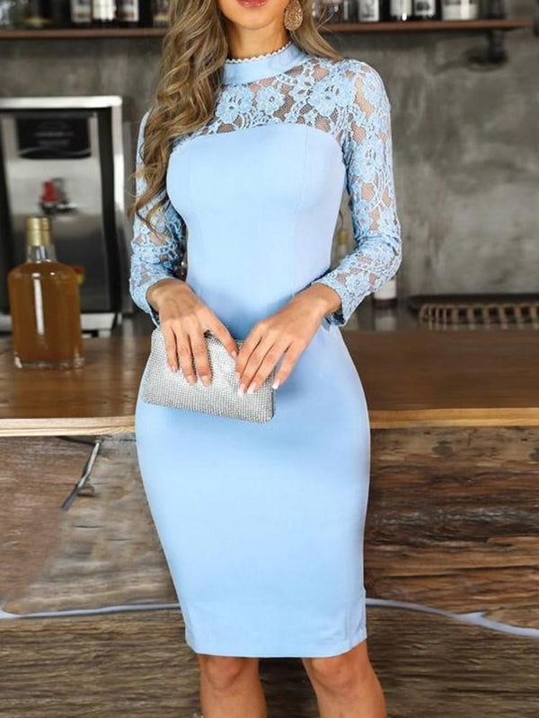Lace Stand Collar Above Knee Regular Bodycon Dress