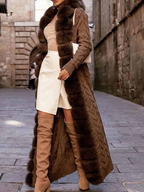 Long Regular Thick Loose Faux Fur Overcoat