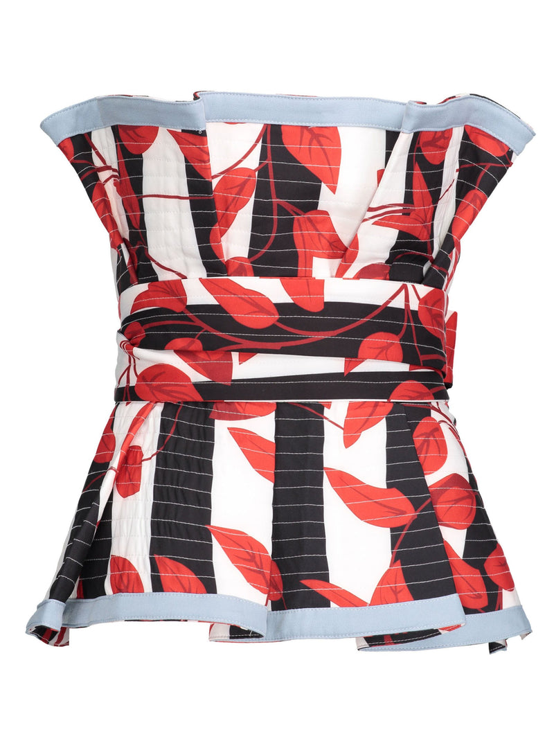 Frill Color Block Mixed Print Women's Tube Top