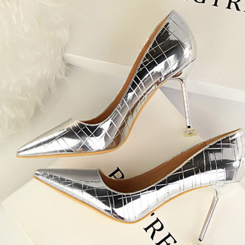 Pointed Toe Slip-On Stiletto Heel Low-Cut Upper 9.5cm Thin Shoes