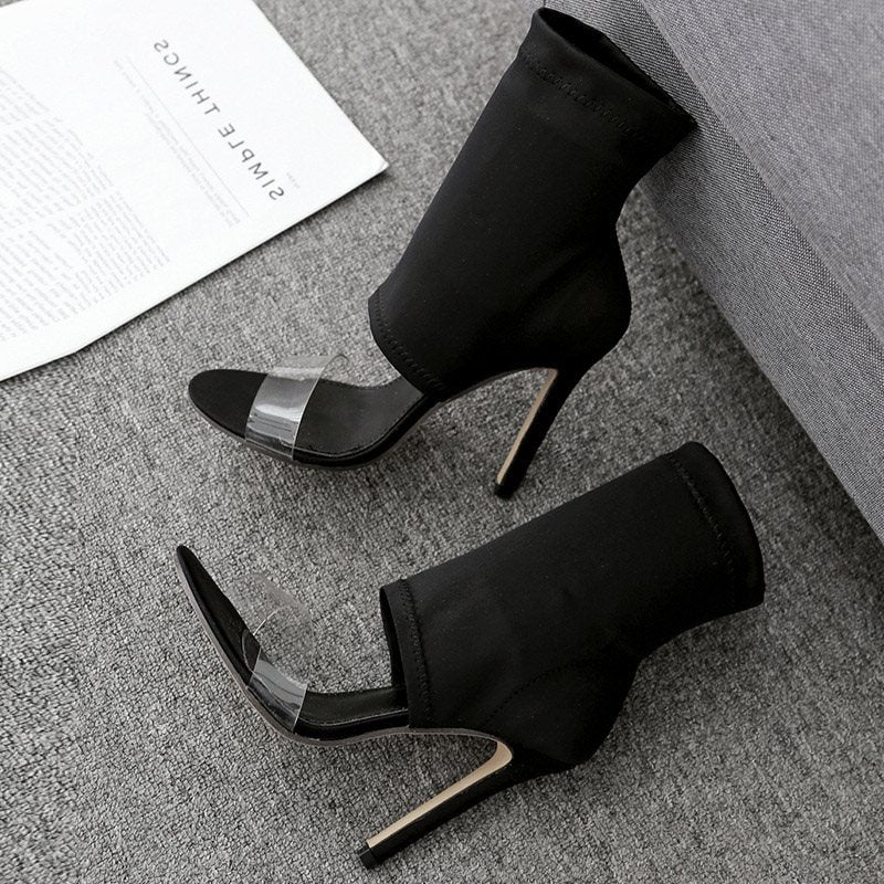 Heel Covering Slip-On Stiletto Heel Open Toe Plain Casual Sandals