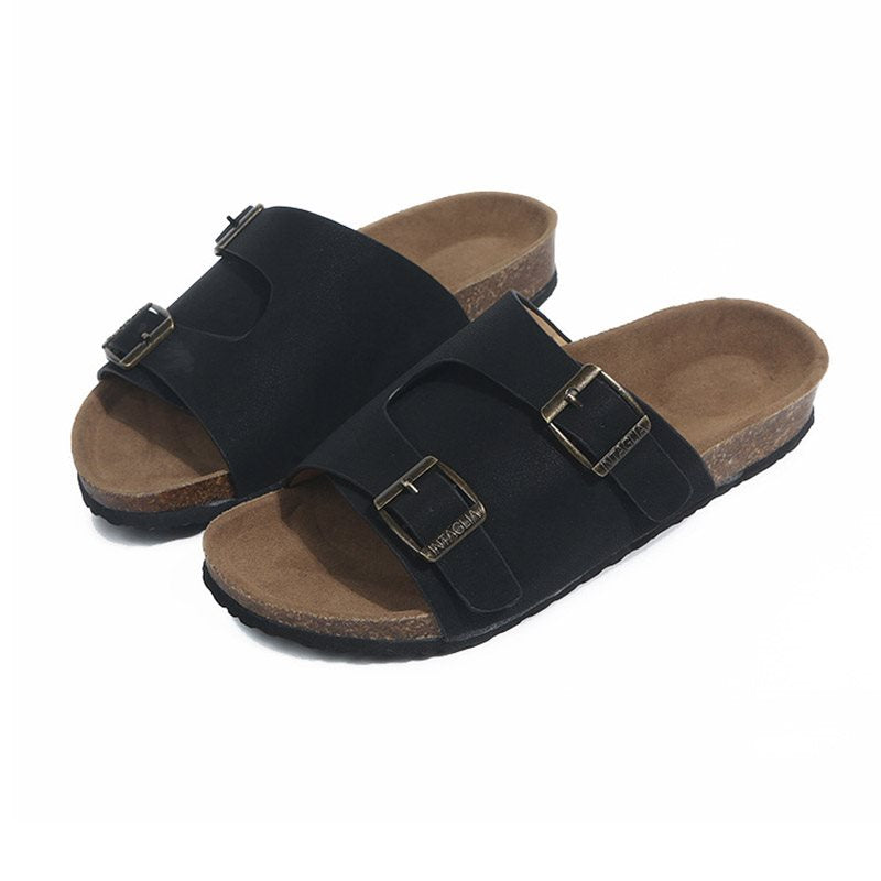 Buckle Slip-On Flip Flop Flat With Plain Rubber Slippers
