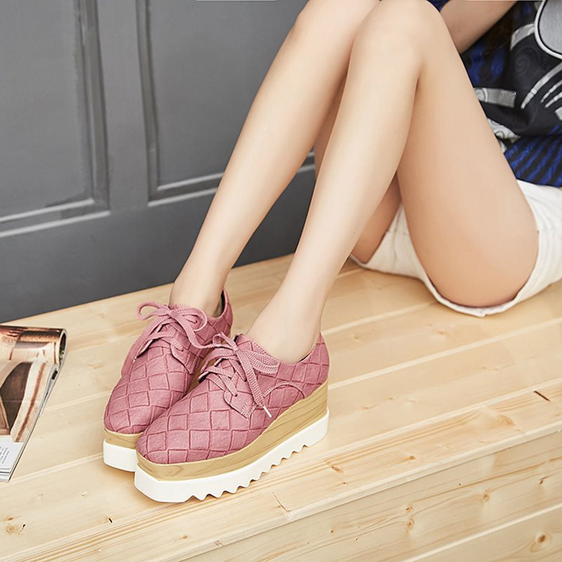 Slip-On Wedge Heel Square Toe Lace-Up 7.5cm Casual Thin Shoes