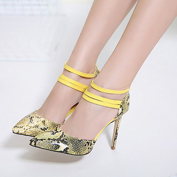Pointed Toe Stiletto Heel Serpentine Zipper 8cm Casual Thin Shoes