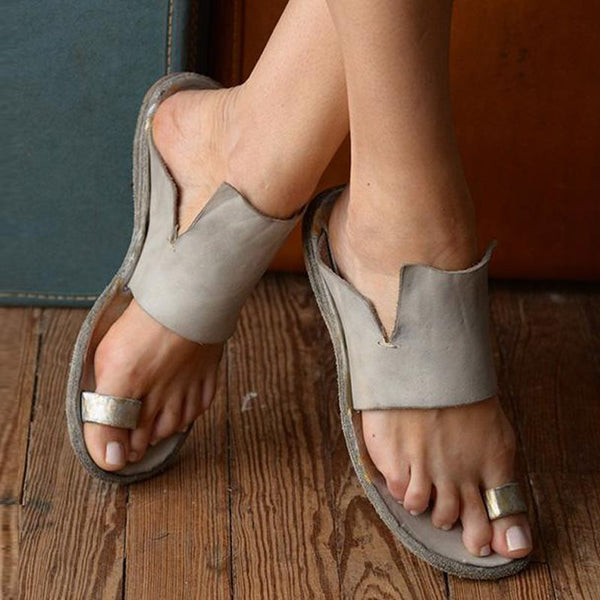 Thong Slip-On Flat With Casual Vintage Sandals