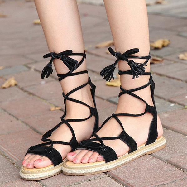 Ankle Strap Lace-Up Open Toe Plain Casual Sandals