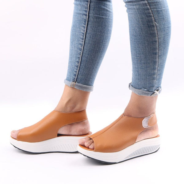Wedge Heel Peep Toe Velcro Strappy Casual Low-Cut Upper Sandals