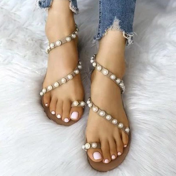 Slingback Strap Block Heel Toe Ring Slip-On Beads Casual Sandals