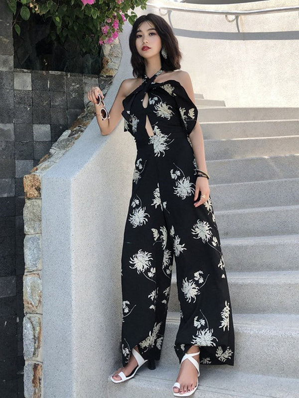 Floral Full Length Fashion Loose Wide Legs Jumpsuits