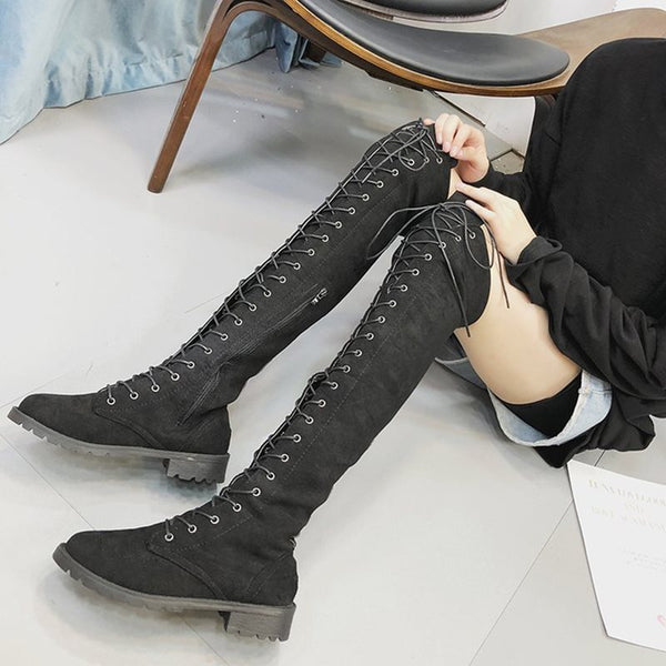 Block Heel Side Zipper Round Toe Plain PU Zipper Boots