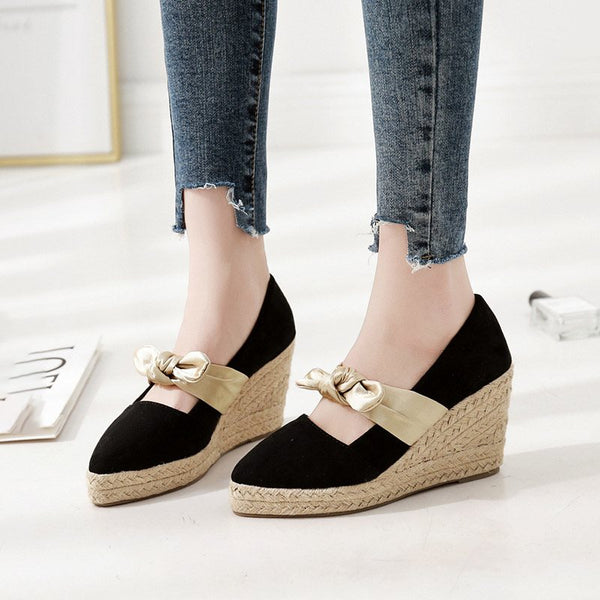 Bow Slip-On Wedge Heel Pointed Toe 8.5cm Low-Cut Upper Thin Shoes