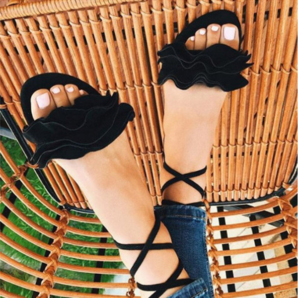 Flat With Strappy Open Toe Lace-Up Ruffles Plain Sandals