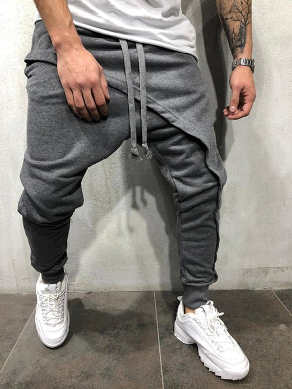 Plain Asymmetric Mid Waist Spring Casual Pants