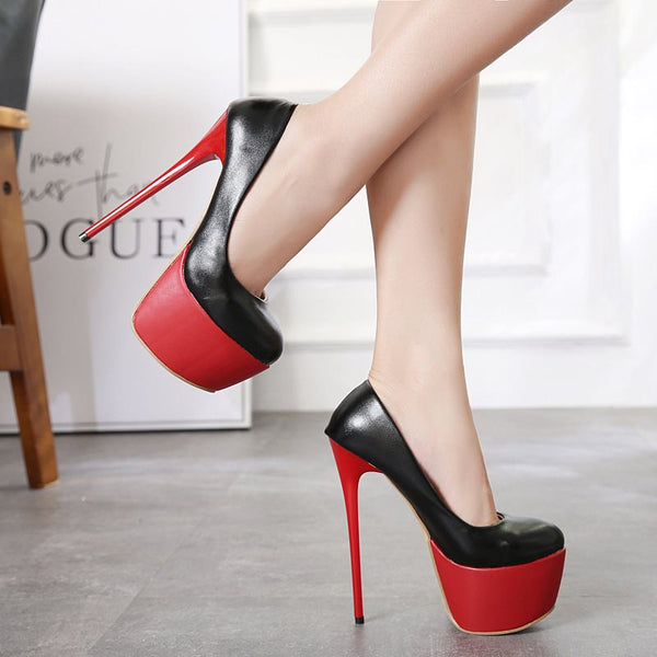 Platform Round Toe Stiletto Heel Slip-On Color Block Ultra-High Heel Thin Shoes