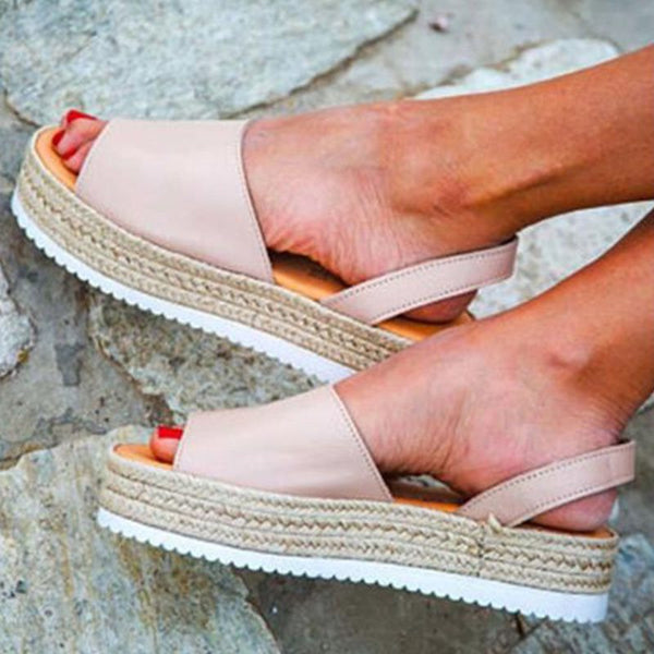 Slingback Strap Open Toe Platform Slip-On Plain Casual Sandals