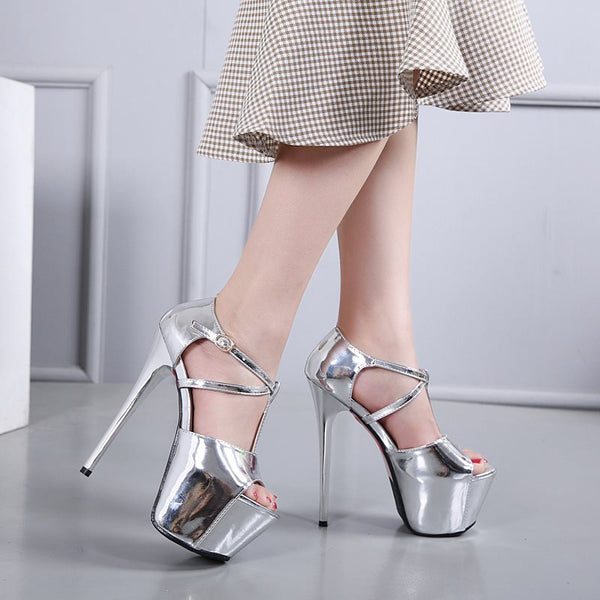 Stiletto Heel Platform T-Shaped Buckle Peep Toe Casual Plain Thin Shoes