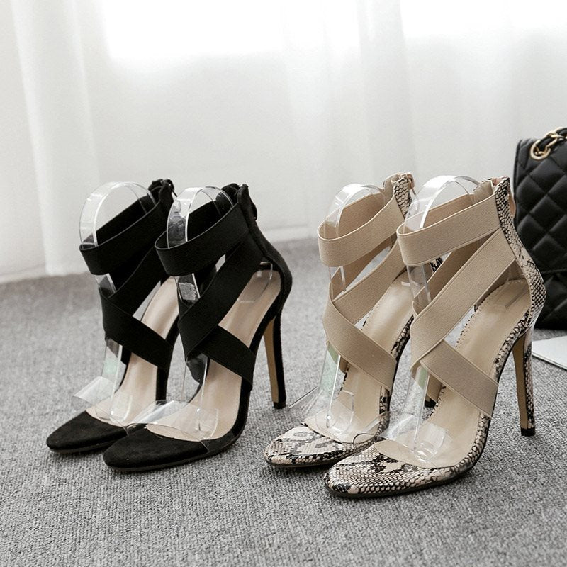 Open Toe Stiletto Heel Heel Covering Zipper Cross Strap Casual Sandals