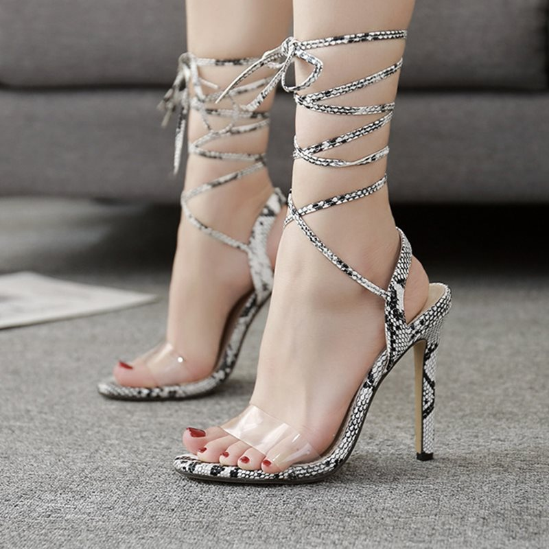 Lace-Up Stiletto Heel Ankle Strap Open Toe Color Block Casual Sandals