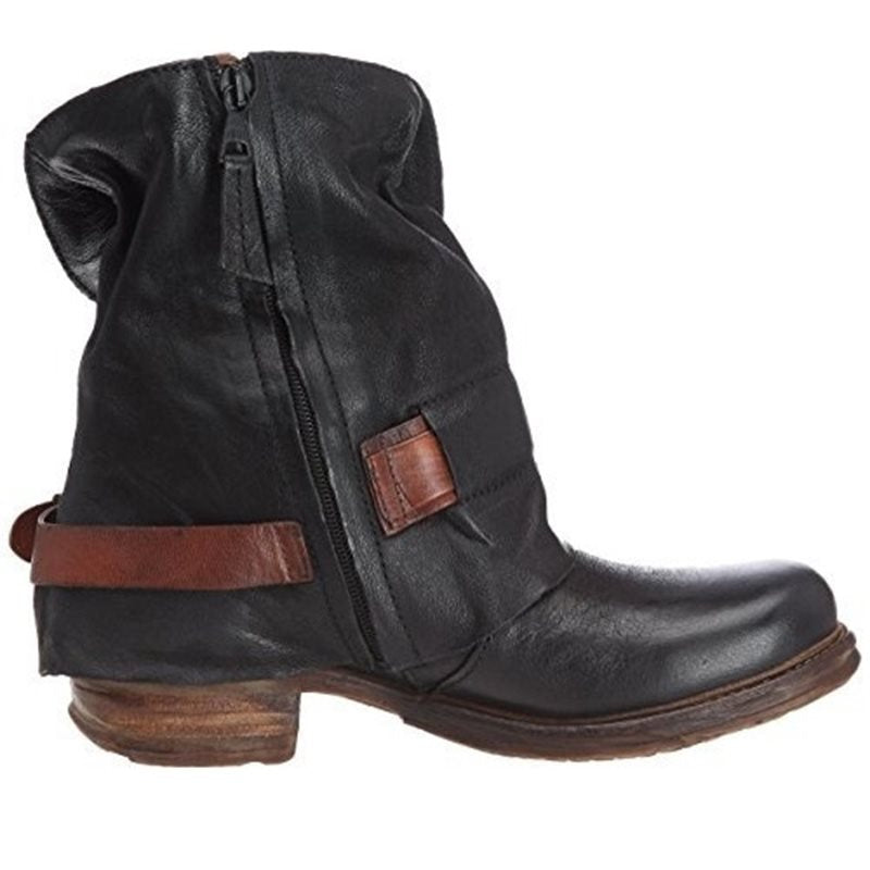 Cuffed Belt Buckle Side Zipper Low Women's Boots