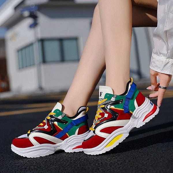 Round Toe Lace-Up Thread Low-Cut Upper Mesh Hip Hop Sneakers