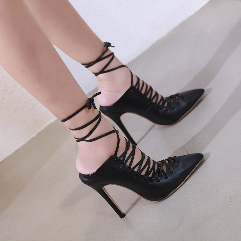 Lace-Up Ankle Strap Pointed Toe Stiletto Heel Western Plain Sandals