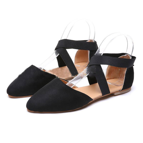Flat With Pointed Toe Elastic Band Flat Heel Low-Cut Upper Thin Shoes