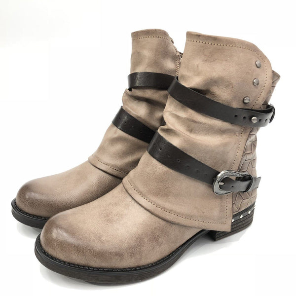 Round Toe Plain Side Zipper Block Heel Casual Western Boots