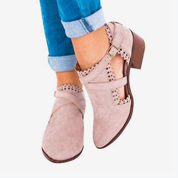 Solid Color Hollow Thick Heel Women's Boots