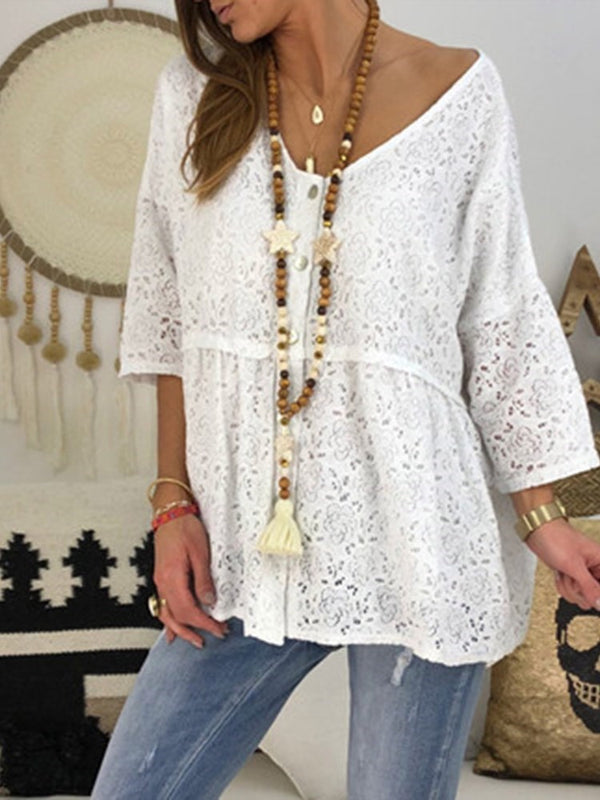 Patchwork Plain Mid-Length Three-Quarter Sleeve Blouse