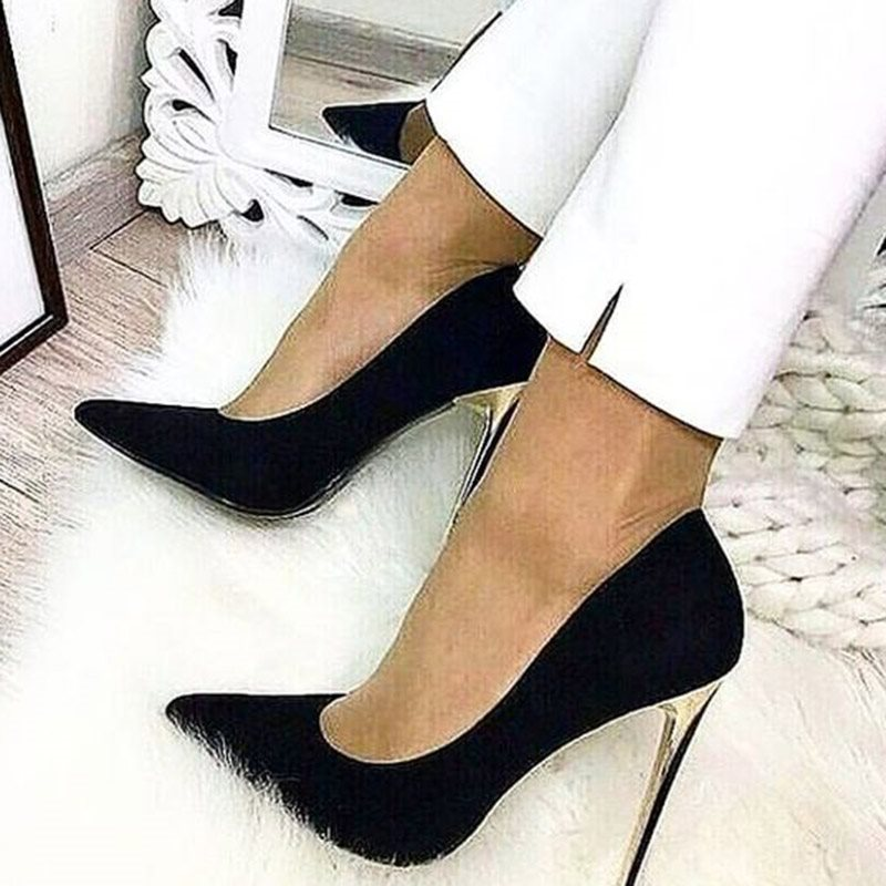 Pointed Toe Slip-On Stiletto Heel 11cm Plain Thin Shoes