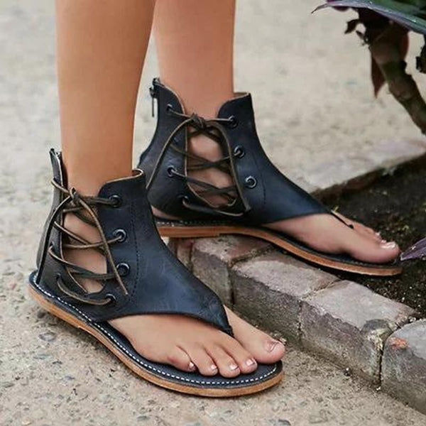 Lace-Up Flat With Thong Plain Vintage Sandals