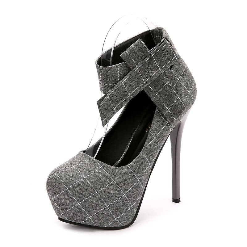 Bow Stiletto Heel Velcro Round Toe Plaid Banquet Thin Shoes