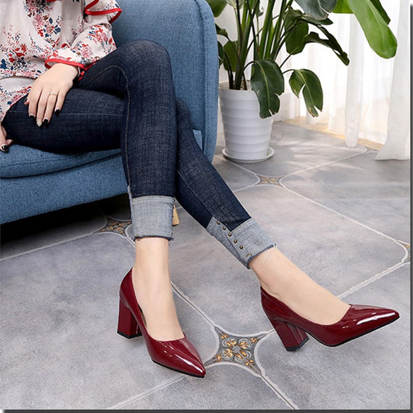 Slip-On Pointed Toe High Heel Plain Thin Shoes