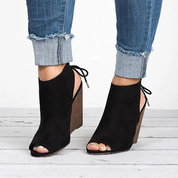 Wedge Heel Peep Toe Lace-Up Plain Cross Strap Sandals