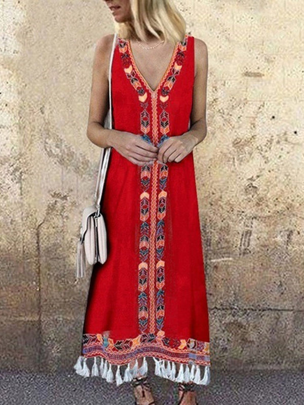 Print Sleeveless Ankle-Length A-Line Ethnic Dress