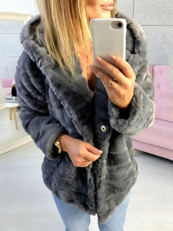 Hooded Regular Plain Loose Thick Faux Fur Overcoat